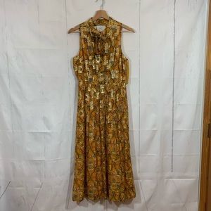 Anthropologie Gold Pussy Bow Midi Dress Size 4